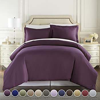 Hotel Luxury 3pc Duvet Cover Set-1500 Thread Count Egyptian Quality Ultra Silky Soft Premium Bedding Collection-King Size Eggplant