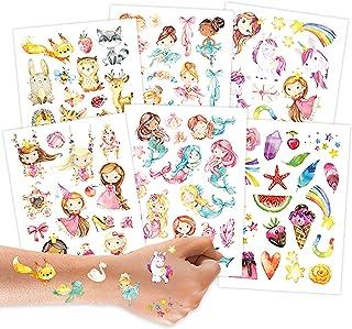 100 tatuaży do naklejenia - tatuaże dziecięce z leśnymi zwierzątkami, jednorożcami, syrenkami, księżniczkami i innymi wzor...