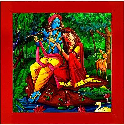Indianara Radha Krishna Paintings (2280) Without Glass 13.8 X 13.8 inch