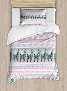 Ambesonne Llama Duvet Cover Set, Horizontal Borders with Patterned Alpaca Animal and Folkloric Ornaments, Decorative 2 Piece Bedding Set with 1 Pillow Sham, Twin Size, Seafoam Pink