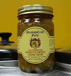 Chow Chow - MeadowCroft Farm Old Fashioned Nanny's Sweet Chow Chow (2-Pack 12 oz per jar) All Natural Blend of Green Tomatoes, Onions, Green & Peppers,Cabbage, Turmeric,Celery & Mustard Seeds - Handmade in small batches like Grandma used to make