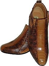Antonio Cerrelli 5159 Mens Brown Snake Emboss High Heel Ankle Dress Boots