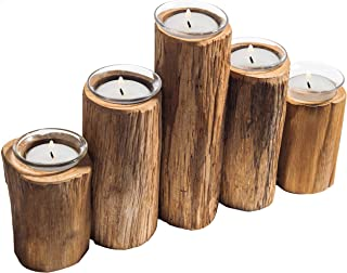 MyGift Wooden Log-Pillar Design Tealight Candle Holder with 5 Clear Glass Votive
