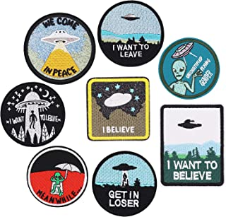 8pcs Alien Spaceship Iron on Patches Embroidered Motif Applique Decoration Sew On Patches Custom Patches for DIY Jeans, Jacket,Kid's Clothing, Bag, Caps, Arts Craft Sew Making (Alien 8pcs)