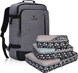 Hynes Eagle 38L Flight Approved Weekender Carry on Backpack, Black Grey with White Flower 3PCS Paking Cubes