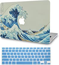 LuvCase 2 in 1 Bundle Rubberized Plastic Hard Shell Cover with Keyboard Cover Compatible MacBook Pro 15 Touch Bar Case A1990/A1707 2019/2018/2017/2016 (Japanese Wave)
