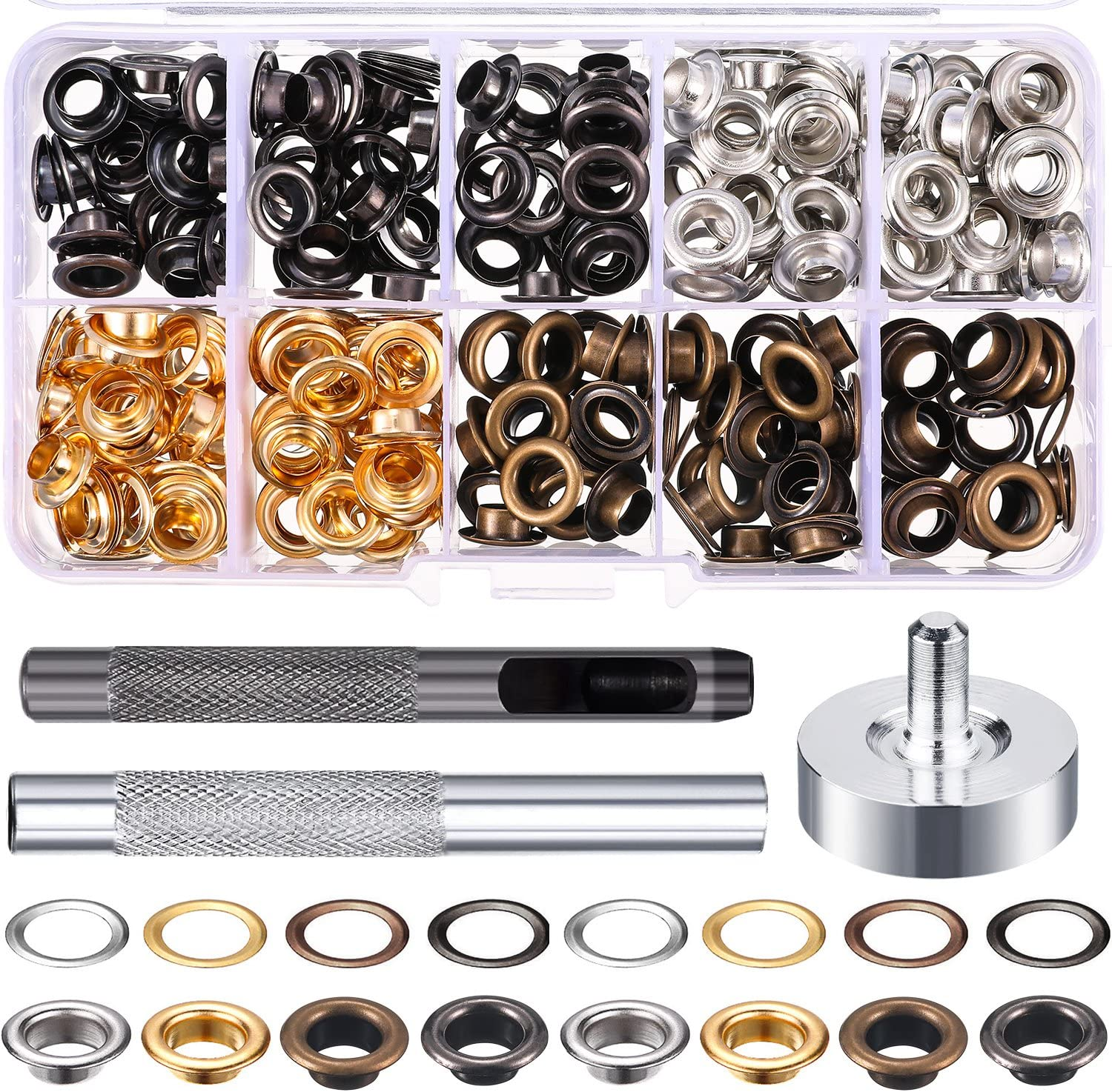 Grommet Kit 200 Sets Grommets Eyelets with 3 Pieces Install Tool