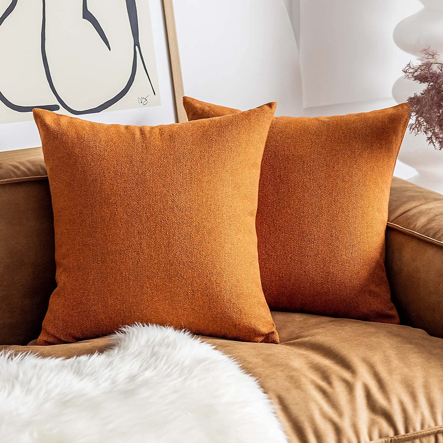 Home Brilliant Fall Pillow Covers 18x18 2 Pi Selling rankings Burnt Set Orange Max 77% OFF of