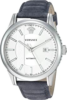 Versace Men's AIAKOS Automatic Stainless Steel Swiss Watch with Leather Calfskin Strap, Grey, 12 (Model: V18010017)