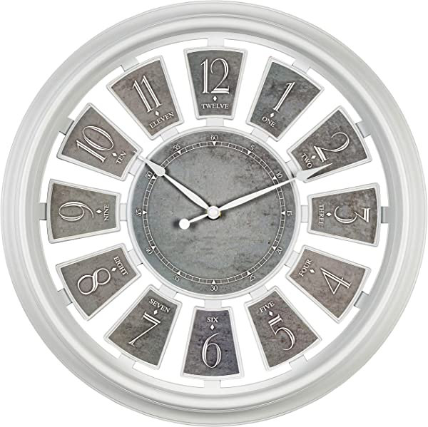 Bernhard Products Decorative Wall Clock Large 16 Inch Silent Non Ticking White Clock With Gray Floating Number Panels Battery Operated Clocks For Kitchen Bedroom Living Room 16 Inch White Gray