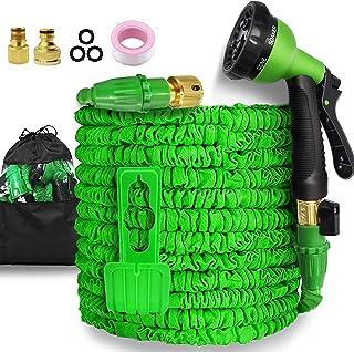 Garden Hose-100ft Expandable Hose - Heavy Duty Flexible Leakproof Hose - 8-Pattern High-Pressure Water Spray Nozzle & Bag...