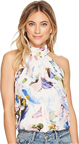 Elle Print Tie Neck Top