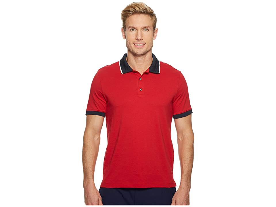 Perry Ellis Tipped Collar Pima Cotton Polo (Haute Red) Men