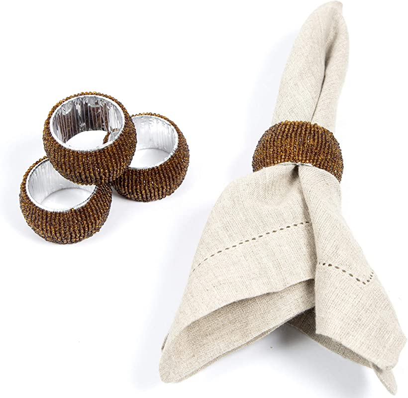 Ramanta Home Handmade Beaded Napkin Rings Set 4 Pack Antique Gold Beaded Napkin Holders 2 Inch Hand Made By Skilled Artisans A Beautiful Complement To Your Dinner Table D Cor