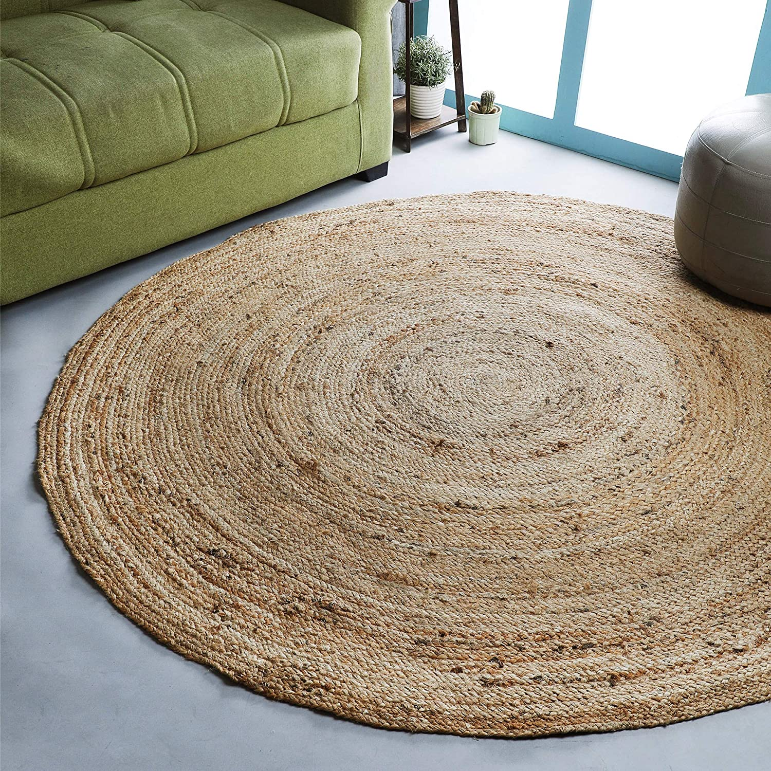 Ramanta Home Jute Braided Rug, 6' Round Natural, Hand Woven Reversible Rugs for Kitchen Living Room Entryway , 6 Feet Round