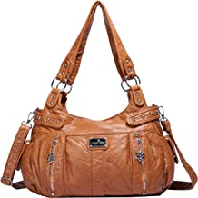 Angelkiss Design Handbags Womens Purse Feel Soft Lether Multiple Top Zipper Pockets Shoulder Bags Large …
