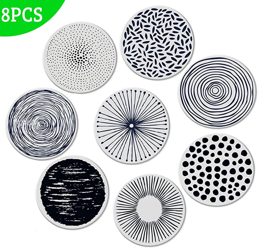 Absorbent Coasters For Drinks Grey Lines On LARGE Ceramic Stone Cork Backing Drink Spills Thirsty Coaster Set Of 8 PCS NO Holder Man Cave House Warming Presents Decor Wedding Registry