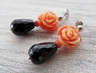 Orecchini con rose, onice nero e corallo rosa, pendenti in argento 925, orecchini classici, gioielli romantici, bijoux con...