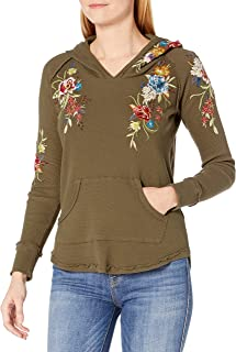 JWLA By Johnny Was Women's Waffle Knit Thermal Hoodie with Embroidery