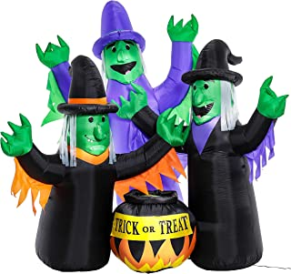 Halloween Haunters 6 Foot Inflatable 3 Wicked Witches Brewing Cooking Potion Yard Lawn Prop Decoration with LED Lights - Indoor Outdoor Lawn Blow Up - Green Face, Purple Black Hats Haunted House Party