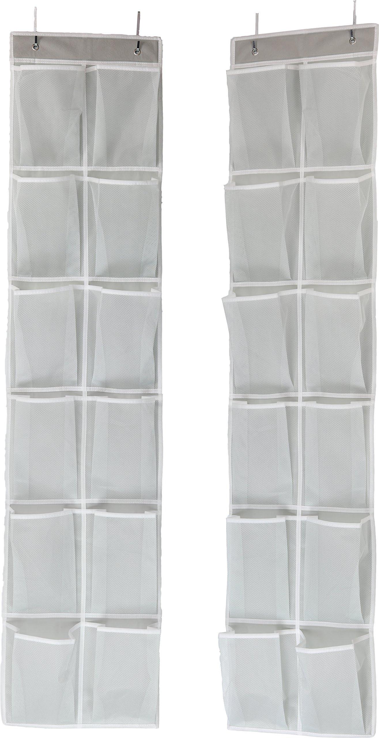SimpleHouseware 24 Pockets - 2PK 12 Large Pockets Over Door Hanging Shoe Organizer, Grey