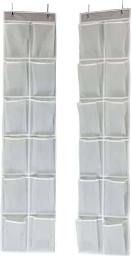 discount SimpleHouseware 24 Pockets lowest - 2PK outlet sale 12 Large Pockets Over Door Hanging Shoe Organizer, Grey online