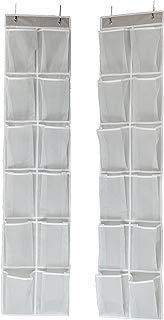 Simple Houseware 24 Pockets - 2PK 12 Large Pockets Over Door Hanging Shoe Organizer, Grey (58'' x 12.5'')