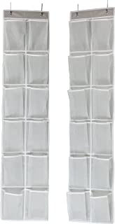Simple Houseware 24 Pockets - 2PK 12 Large Pockets Over Door Hanging Shoe Organizer, Grey (58'' x 12.5'')