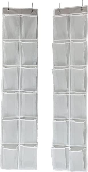 Simple Houseware 24 Pockets 2PK 12 Large Pockets Over Door Hanging Shoe Organizer Grey 58 X 12 5