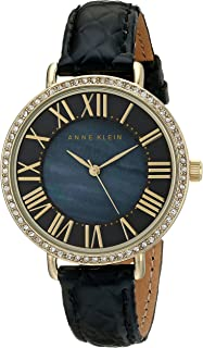 Anne Klein Women's AK/1824BMBK Swarovski Crystal-Accented Gold-Tone Watch with Black Leather Strap