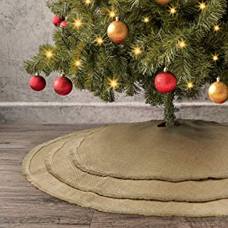 Ivenf Christmas Tree Skirt, 48 inches Natural Burlap Jute Plain with Tassels, Rustic Xmas Holiday Decoration