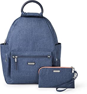 """Baggallini Women's New Classic""""Heritage"""" All Day Backpack with RFID Phone Wristlet Steel Blue One Size"""