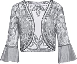 Metme Sequin Jacket Open Front Glitter Cropped Bolero Shrug 2/3 Length Bell Sleeves Lace Cardigan