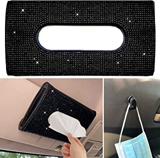 Car Sun Visor Tissue Box Holder,Dermasy Hanging Car Sparkly Crystal PU Leather Napkin Case Holder Bling car Accessories fo...