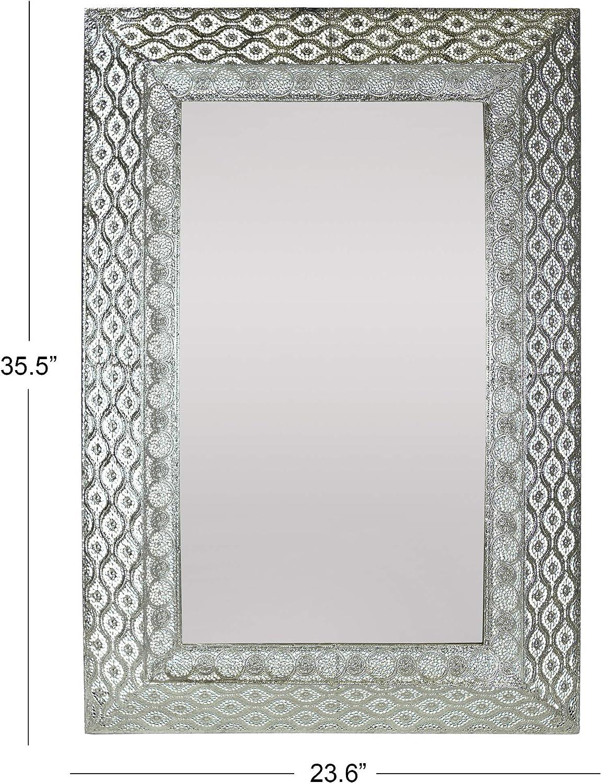 Bronze Metal Wall Accent Mirror Shelf