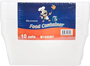 Bel M1000RT/10 Plastic Food Container with Lid, Rectangle, Pack of 10