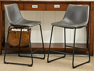 Roundhill Furniture PC185GY Lotusville Vintage PU Leather Counter Height  Stools, Antique Gray, Set Of