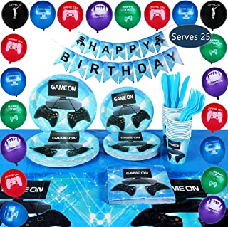163 Piece Premium Video Gaming Party Supplies Decorations Set - Serves 25 - Including Plates, Cups, Napkins, Birthday Banner, Balloons, Table Cover, Cutlery Knives and Forks For Boys And Girls By AJ Party Supplies