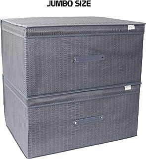 HOKIPO® Dust & Moisture Proof Foldable Closet Cloth Organizer Blanket Cover Bag, Large, 60 x 45 x 30 cm, Set of 2