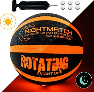 NIGHTMATCH Light Up Basketball - Black Edition - INCL. Ball Pump and Spare Batteries - Inside LED Lights up When Bounced - Glow in The Dark Basketball - Size 7 - Official Size & Weight - Night Sports
