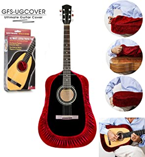 TENOR Ultimate Guitar Cover, Guitar Protector, Guitar Gig Bag, Protective Sleeve for Acoustic, Classical, Flamenco, Arch Top and Cutaway Guitars, Red Velvet Color. Tailor Hand Made.