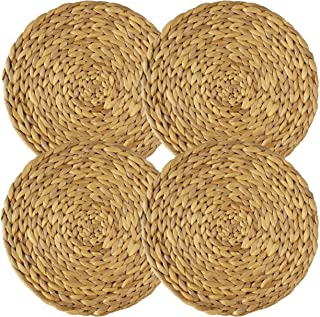 Set of 4 Rustic Charger Plates, Natural Water Hyacinth Decorative Round Dinnerware, Christmas, Wedding, Hand Woven Placema...