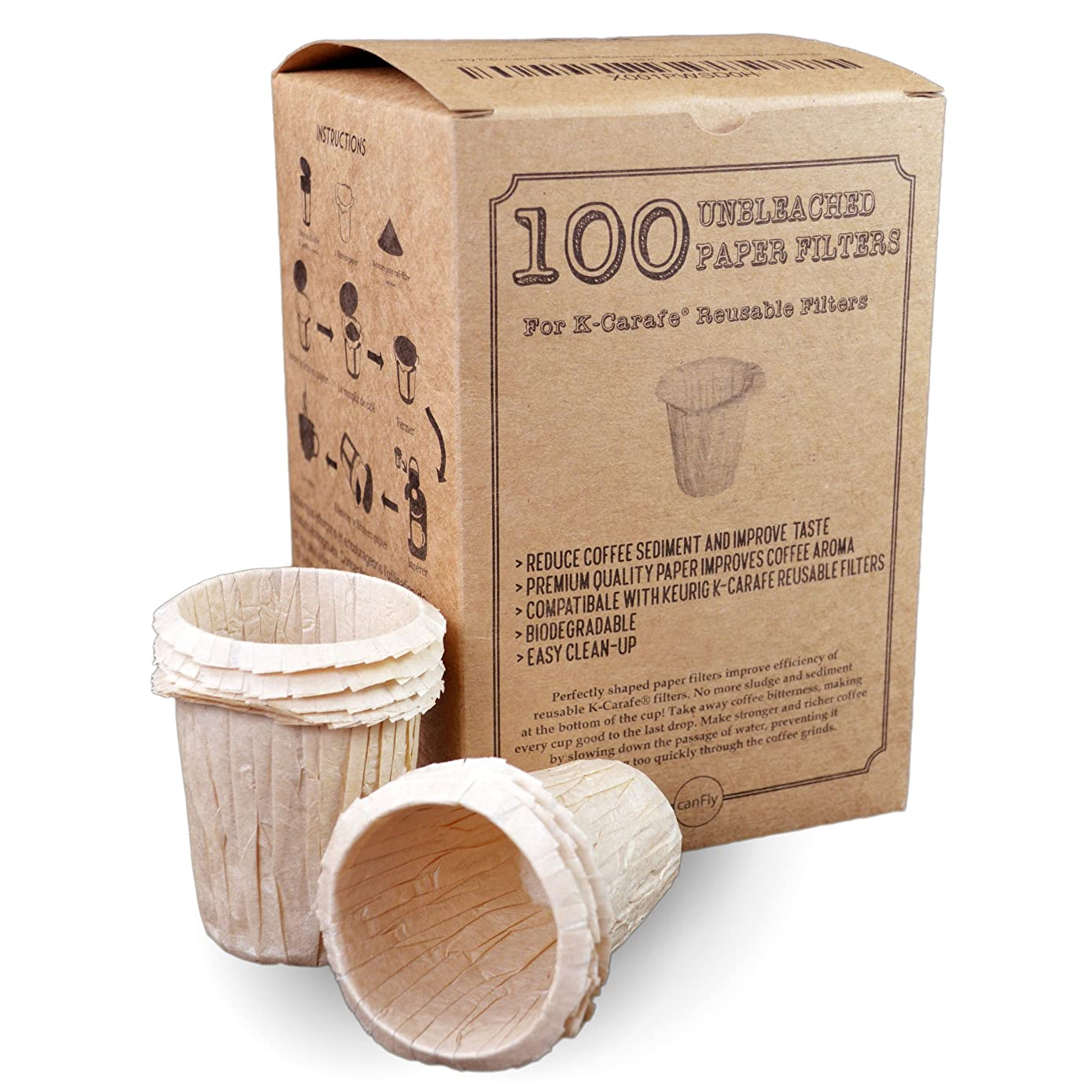 canFly Premium Disposable Paper Filters for K-Carafe Reusable Coffee Filter for 4-CUP (Unbleached 100)