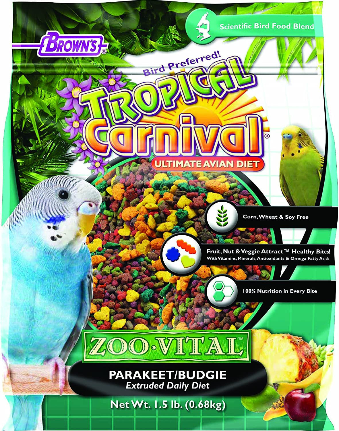 F.M.Brown's Tropical Carnival Zoovital Parakeet Budgie Extruded Daily Diet, 1.5 lb