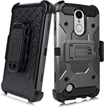 For LG LV3/ Aristo MS210/Aristo 2/ K8 (2017)/ US215 Duo Defense Drop-Proof Heavy Duty Full Body Rugged Holster Armor Combo Case [Belt Swivel Clip & Kickstand] (Black)