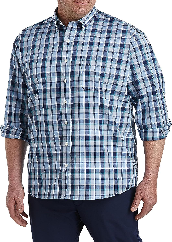 Oak Hill by DXL Big and Tall Medium Plaid Sport Shirt, Blue Green