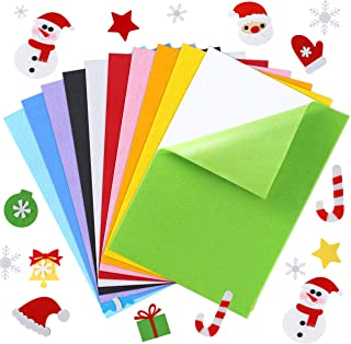 Caydo 10 Pieces Craft Adhesive Back Felt Sheets in 10 Colors Multi-Purpose for DIY Art and Craft Making