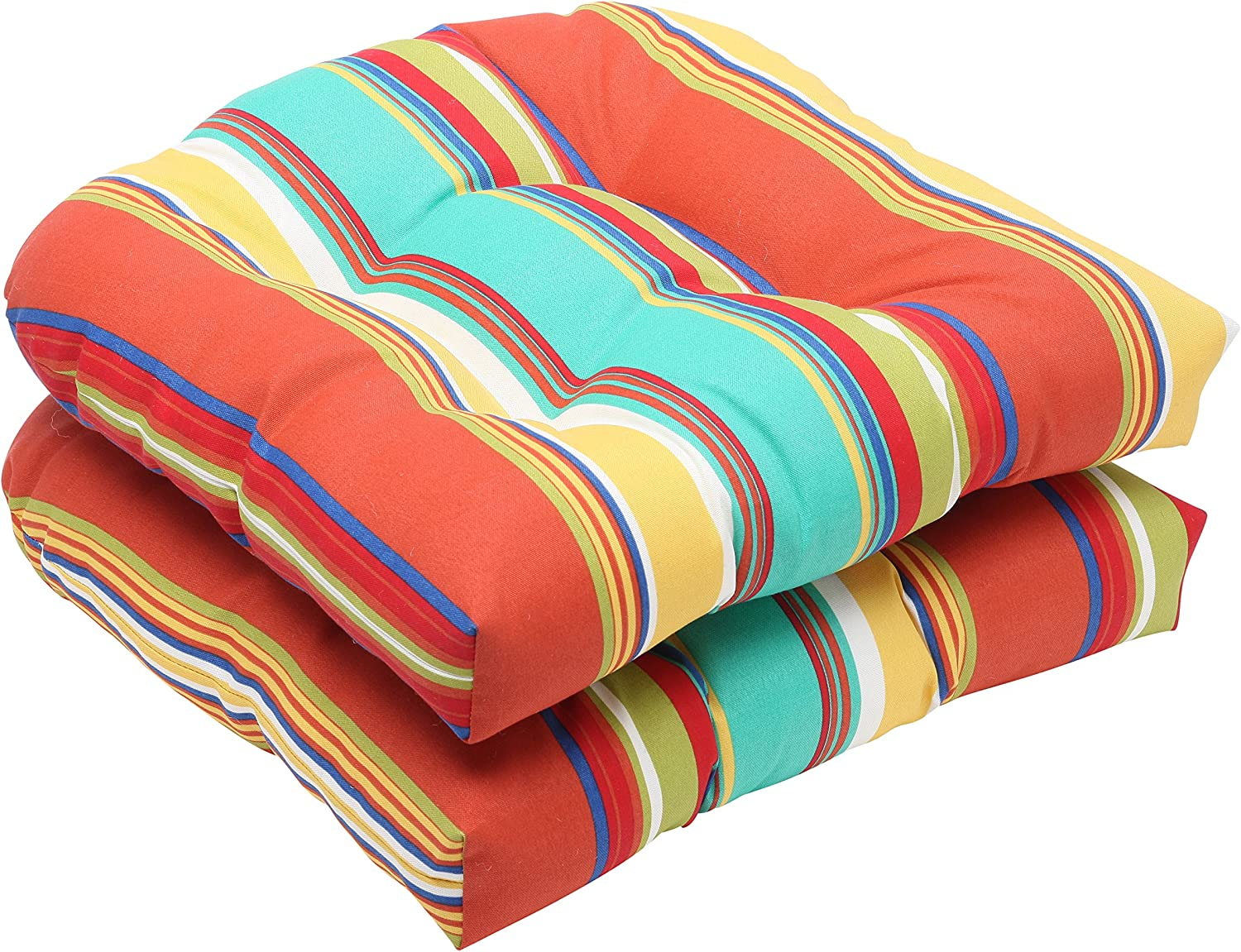 Pillow Perfect Outdoor Westport Spring Wicker Seat Cushion, Multicolord, Set of 2