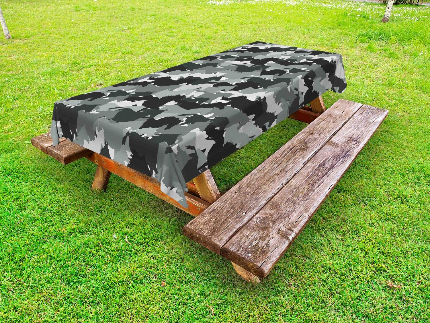 OFFicial shop Ambesonne Horses Outdoor Tablecloth Mustang Toge Ranking integrated 1st place Galloping Herd