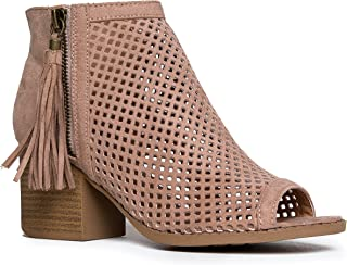 60004bcfb665 J. Adams Maya Perforated Booties – Peep Toe Chunky Block Heel Tassel Ankle  Boots